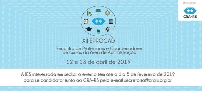 IES interessadas em sediar XII EPROCAD podem se inscrever até 05 de fevereiro