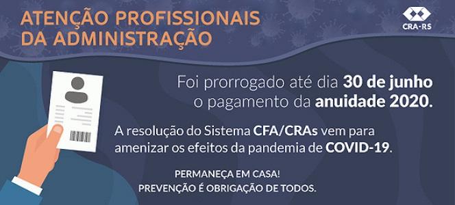 CRA-RS prorroga até 30 de junho pagamento de anuidade 2020
