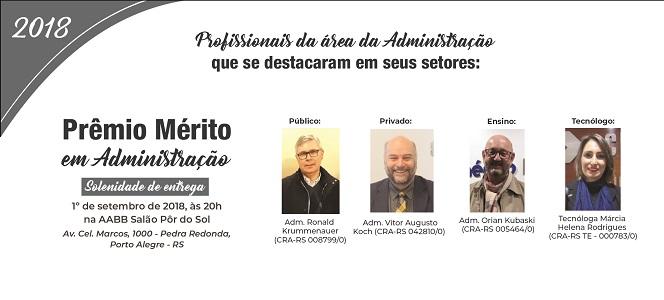 Prêmio Mérito em Administração 2018 será entregue no próximo dia 1º