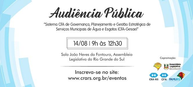 CRA-RS promove Audiência Pública debatendo o saneamento básico