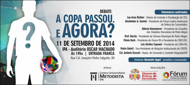 Evento promovido pelo Fórum dos Conselhos vai discutir os legados da Copa do Mundo