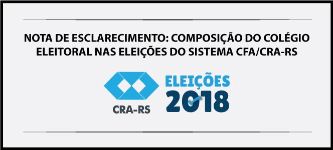 NOTA DE ESCLARECIMENTO: COMPOSIÇÃO DO COLÉGIO ELEITORAL NAS ELEIÇÕES DO SISTEMA CFA/CRA-RS